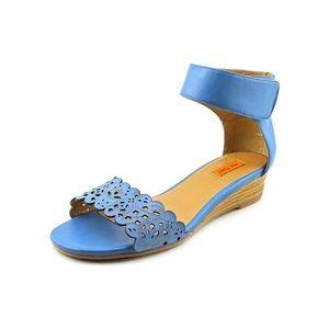 Miz Mooz Primrose Blue Wedge Ankle Sandals Sz 9.5